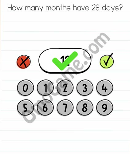 Brain Test Level 18 answer and walkthrough (How many month have 28 days)