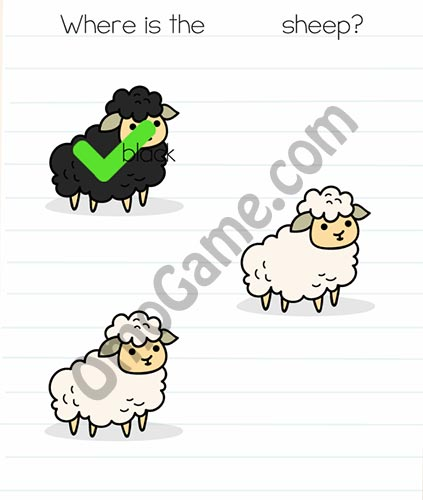 Brain Test Level 20 answer and walkthrough (Where is the black sheep)