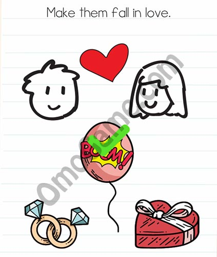 Brain Test Level 26 answer and walkthrough (Make them fall in love)