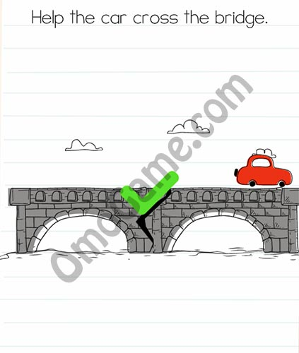 Brain Test Level 33 answer and walkthrough (Help the car cross the bridge)