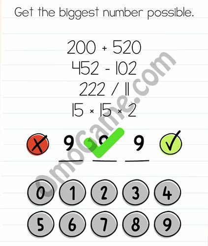 Brain Test Level 42 answer and walkthrough (Get the biggest number possible)