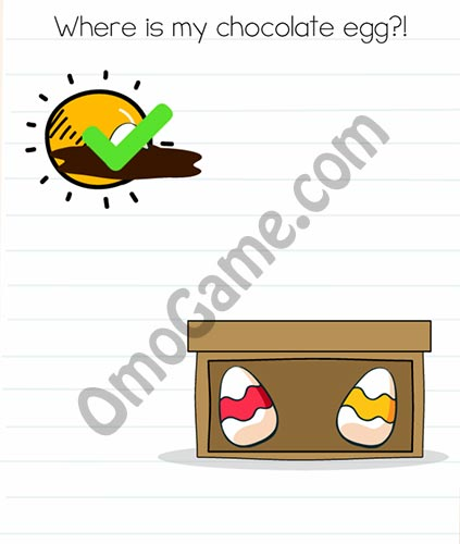 Brain Test Level 44 answer and walkthrough (Where is my chocolate egg)