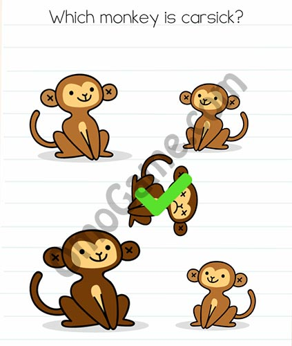 Brain Test Level 46 answer and walkthrough (Which monkey is carsick)