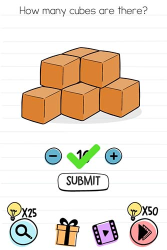 Brain Test Level 78 answer and walkthrough (How many cubes are there)