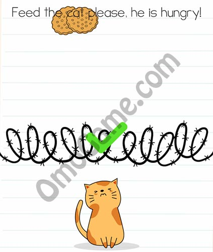 Brain Test Level 8 answer and walkthrough (Feed the cat please, he is hungry)