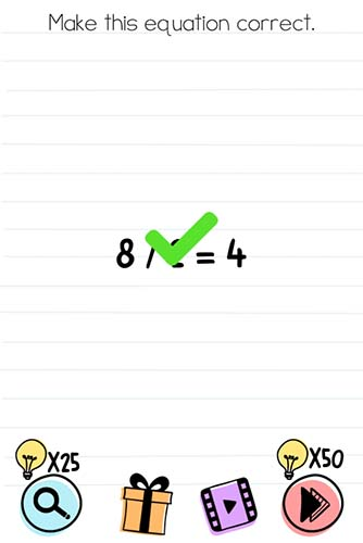 Brain Test Level 82 answer and walkthrough (Make this equation correct)