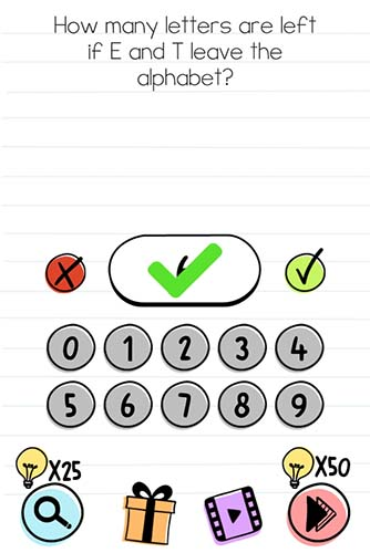Brain Test Level 84 answer and walkthrough (How many letters are left if E and T leave the alphabet)