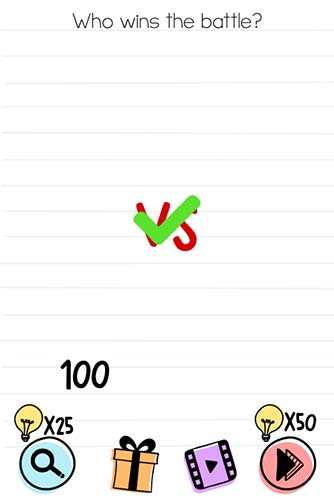 Brain Test Level 88 answer and walkthrough (Who wins the battle)