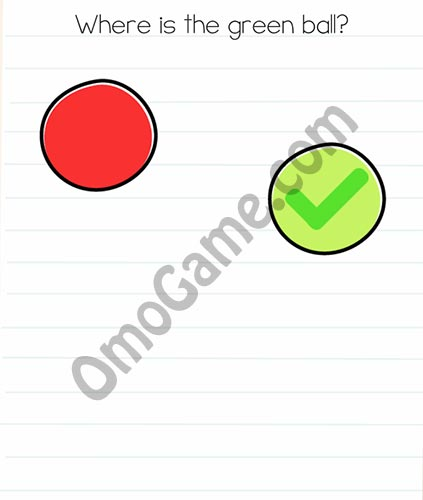 Brain Test Level 9 answer and walkthrough (Where is the green ball)
