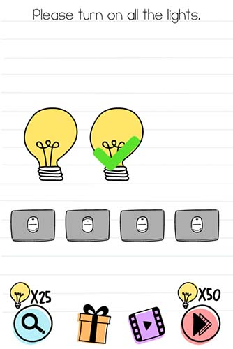 Brain Test Level 90 answer and walkthrough (Please turn on all the lights)