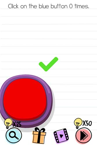 Brain Test Level 92 answer and walkthrough (Click on the blue button)