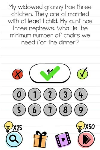 Brain Test Level 99 answer and walkthrough (What is the minimum number of chairs we need for the dinner)