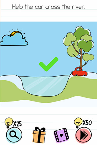 Brain Test Level 111 answer and walkthrough (Help the car cross the river)