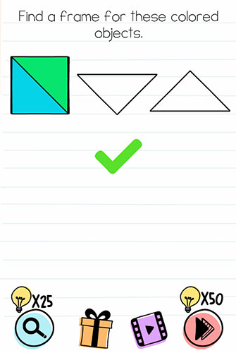 Brain Test Level 115 answer and walkthrough (Find a frame for these colored objects)