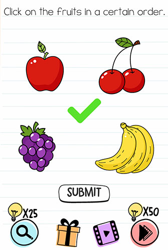 Brain Test Level 117 answer and walkthrough (Click on the fruits in a certain order)