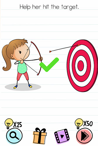 Brain Test Level 101 answer and walkthrough (Help her hit the target)