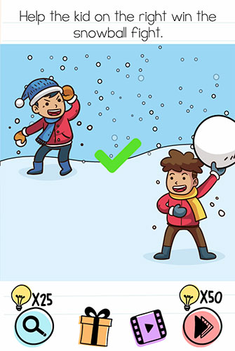 Brain Test Level 125 answer and walkthrough (Help the kid on the right win the snowball fight)