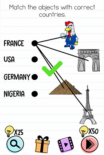 Brain Test Level 137 answer and walkthrough (Match the objects with correct countries)