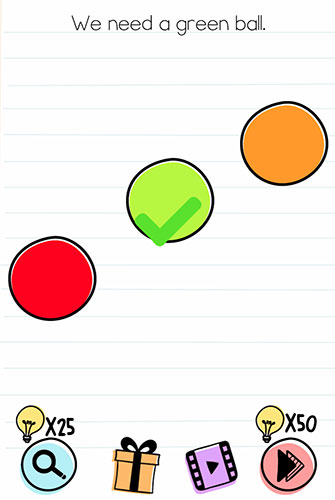 Brain Test Level 152 answer and walkthrough (We need a green ball)