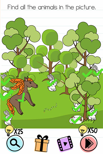 Brain Test Level 168 answer and walkthrough (Find all the animals in the picture)