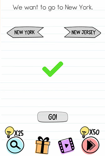 Brain Test Level 170 answer and walkthrough (We want to go to New York)