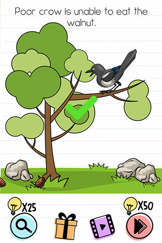 Brain Test Level 171 answer and walkthrough (Poor crow is unable to eat the walnut)