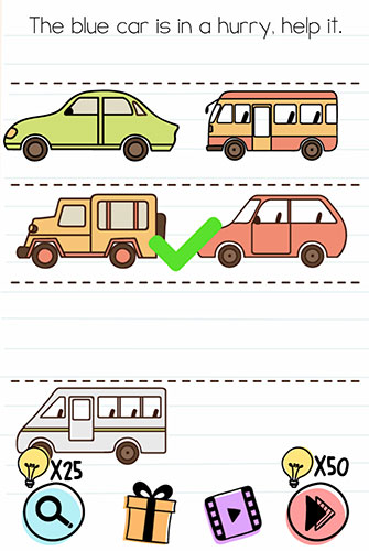 Brain Test Level 175 answer and walkthrough (he blue car is in a hurry, help it)
