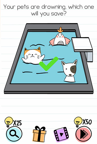 Brain Test Level 195 answer and walkthrough (Your pets are drowning, which one will you save)