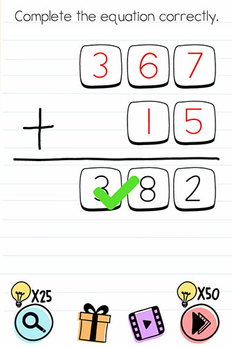 Brain Test Level 197 answer and walkthrough (Complete the equation correctly)