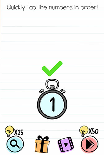 Brain Test Level 201 answer and walkthrough (Quickly tap the numbers in order)