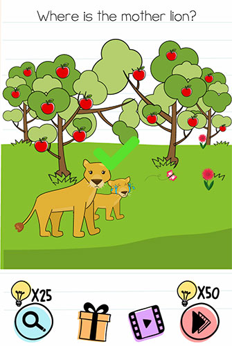 Brain Test Level 207 answer and walkthrough (Where is the mother lion)