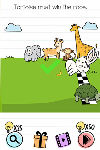 Brain Test Level 208 answer and walkthrough (Tortoise must win the race)