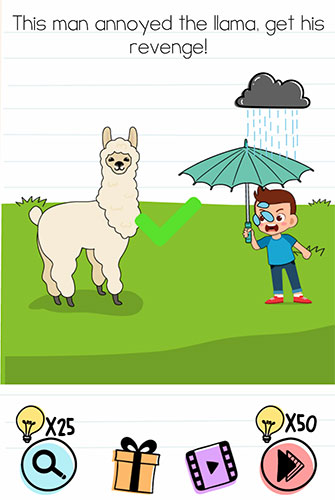 Brain Test Level 211 answer and walkthrough (This man annoyed the llama, get his revenge)