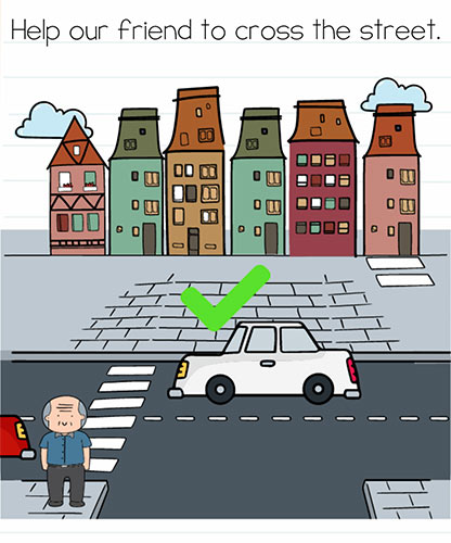 Brain Test Level 220 answer and walkthrough (Help our friend to cross the street)