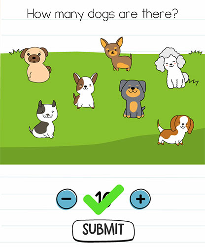 Brain Test Level 223 answer and walkthrough (How many dogs are there)