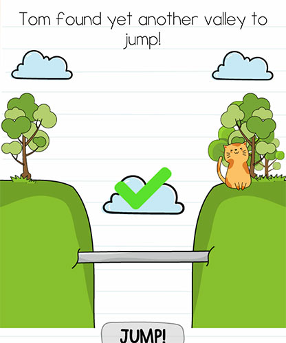 Brain Test Level 228 answer and walkthrough (Tom found yet another valley to jump)