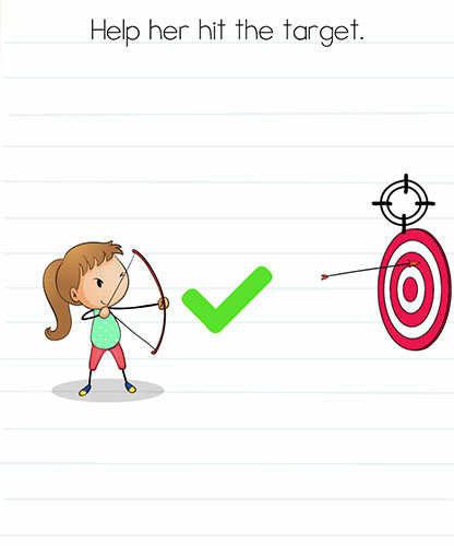 Brain Test Level 236 answer and walkthrough (Help her hit the target)