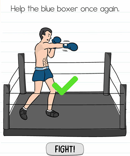 Brain Test Level 237 answer and walkthrough (Help the blue boxer once again)