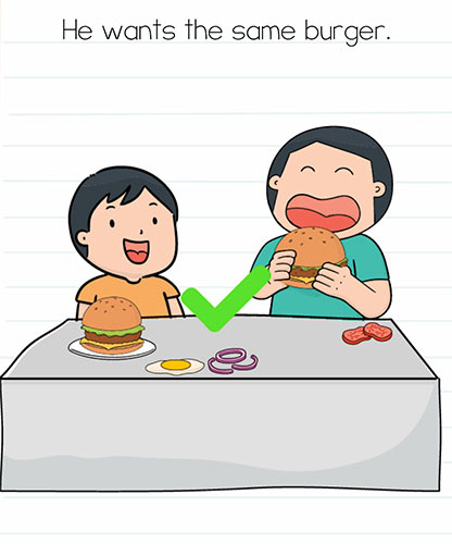 Brain Test Level 248 answer and walkthrough (He wants the same burger)