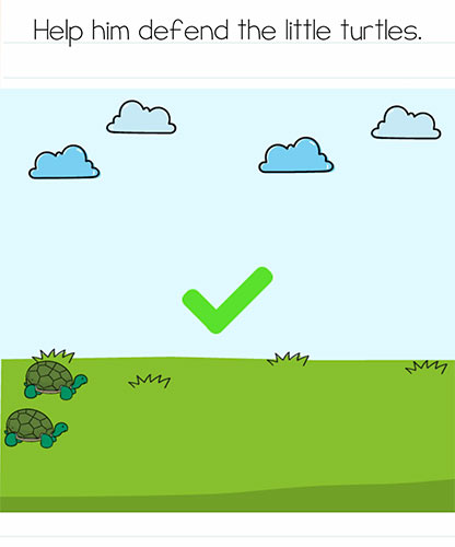 Brain Test Level 259 answer and walkthrough (Help him defend the little turtles)