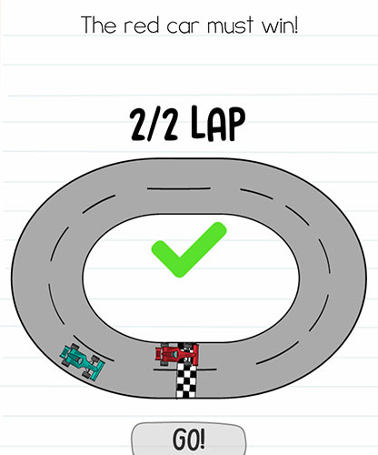 Brain Test Level 262 answer and walkthrough (The red car must win)