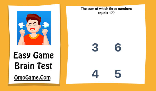 Easy Game Level 61 The sum of which three numbers equals 17